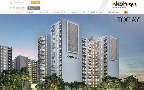 Screenshot of Home Page akshaya.com - Akshaya | Top Real Estate Developers in Chennai - captured June 26, 2017