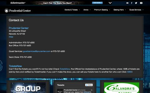Screenshot of Contact Page prucenter.com - Prudential Center | Contact Us - captured Sept. 22, 2014