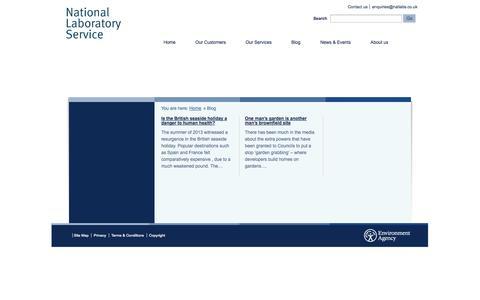 Screenshot of Blog natlabs.co.uk - National Laboratory Service – National Laboratory Service Homepage   » Blog - captured Oct. 27, 2014