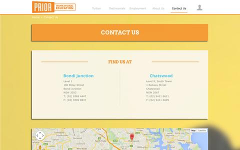 Screenshot of Contact Page prior.edu.au - Chatswood and Bondi Tutoring | Contact Us - captured Oct. 1, 2014