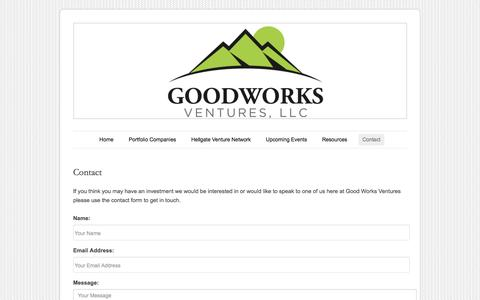 Screenshot of Contact Page goodworksventures.com - Contact | Good Works Ventures - captured Sept. 30, 2014