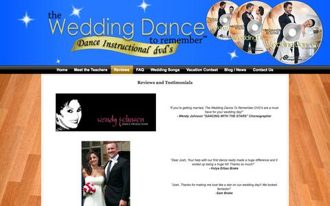 Screenshot of Testimonials Page theweddingdancetoremember.com - Testimonials for The Wedding Dance to Remember Instructional Dance DVD - captured Sept. 30, 2014