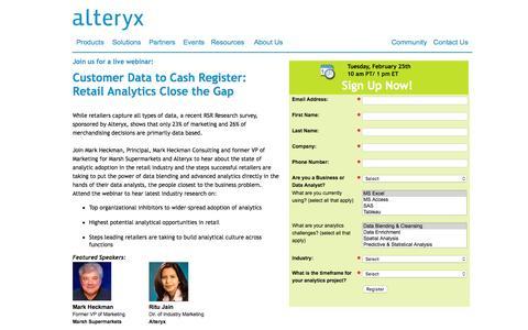Screenshot of Landing Page alteryx.com - Customer Data to Cash Register: Retail Analytics Close the Gap - captured Feb. 22, 2016