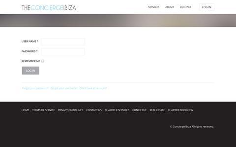 Screenshot of Login Page theconciergeibiza.com - theconciergeibiza - captured Oct. 7, 2014
