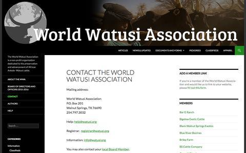 Screenshot of Contact Page watusi.org - Contact the World Watusi Association | World Watusi Association - captured June 10, 2016