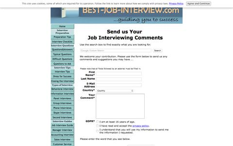 Screenshot of Contact Page best-job-interview.com - Job Interviewing Suggestions and Comments - captured Sept. 23, 2018
