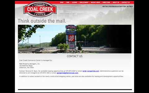 Screenshot of Contact Page coalcreekcc.com - Contact Us Coal Creek Commerce Center Shop and Dine 17970 - captured Oct. 3, 2014