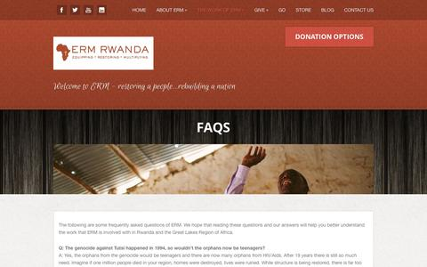 Screenshot of FAQ Page ermrwanda.org - FAQs  - ERM Rwanda - captured Oct. 1, 2014