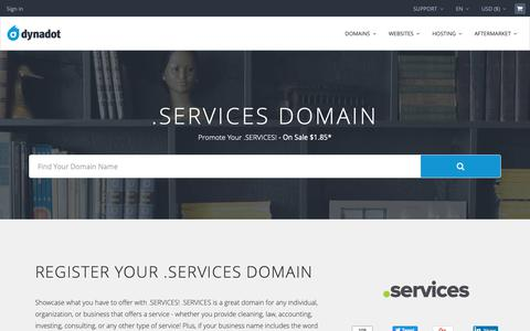 Screenshot of Services Page dynadot.com - .SERVICES Domain Names : Register .SERVICES Domains : New TLDs - captured Dec. 9, 2018