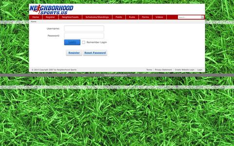 Screenshot of Login Page neighborhoodsports.us - User Log In - captured Sept. 30, 2014