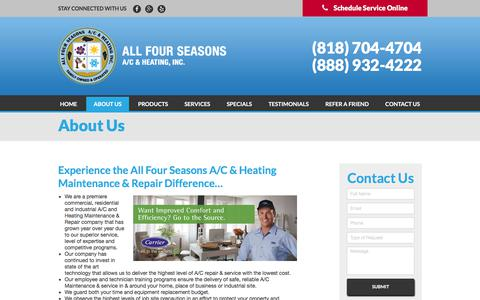 Screenshot of About Page allfourseasons.com - About Us | All Four Seasons A/C & Heating, Inc. - captured Oct. 8, 2017