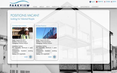 Screenshot of Jobs Page parkviewgroup.com.au - JOBS @ PARKVIEW - captured Oct. 1, 2014