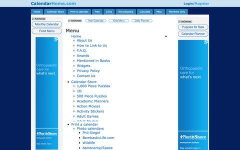 Screenshot of Menu Page calendarhome.com - Menu - captured June 27, 2017