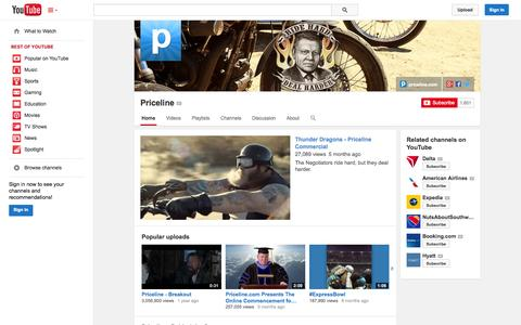 Screenshot of YouTube Page youtube.com - Priceline  - YouTube - captured Oct. 22, 2014
