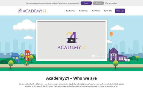 Screenshot of Home Page academy21.co.uk - Academy21 - Who we are - captured Oct. 2, 2018