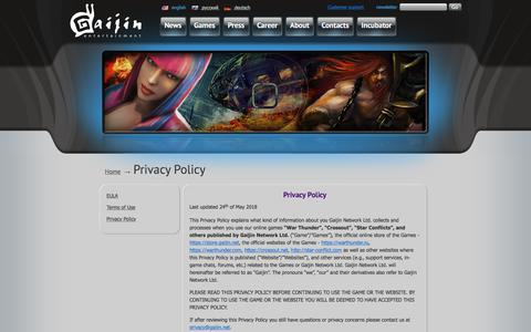 Screenshot of Privacy Page gaijinent.com - Gaijin Entertainment  | Privacy Policy - captured Sept. 26, 2018