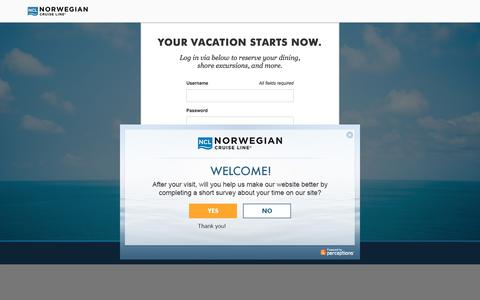 Screenshot of Login Page ncl.com - Cruises & Cruise Deals | Caribbean Cruise Vacations | Norwegian Cruise Line - captured Jan. 8, 2020