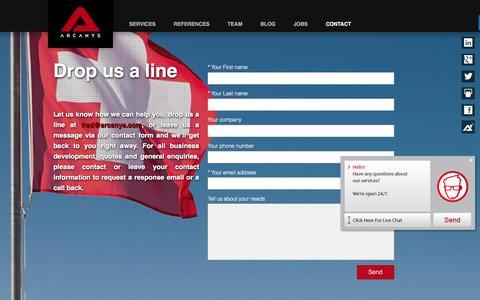 Screenshot of Contact Page arcanys.com - Arcanys Contact Page    Arcanys - captured July 26, 2016