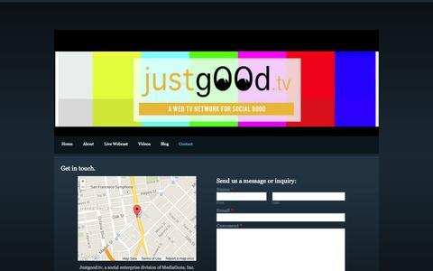 Screenshot of Contact Page justgood.tv - Contact - Justgood.tv - captured Oct. 27, 2014