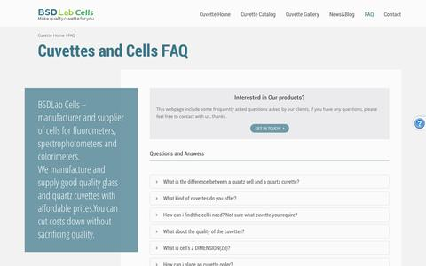 Screenshot of FAQ Page bsdlab.com - Quality Cuvettes Shop | quartz cuvettes and glass cuvettes/cells FAQ - captured Oct. 4, 2014