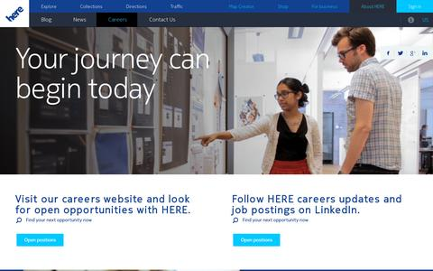 Screenshot of Jobs Page here.com - Careers - HERE - captured July 19, 2014