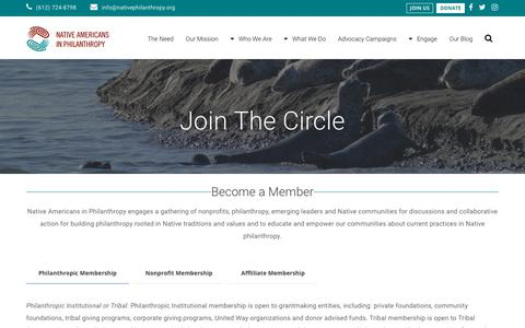 Screenshot of Signup Page nativephilanthropy.org - Join the Circle - Native Americans in Philanthropy - captured Oct. 19, 2018