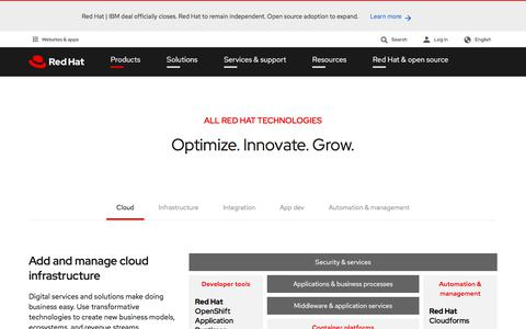 Screenshot of Products Page redhat.com - Open source technologies for the enterprise - captured Aug. 1, 2019