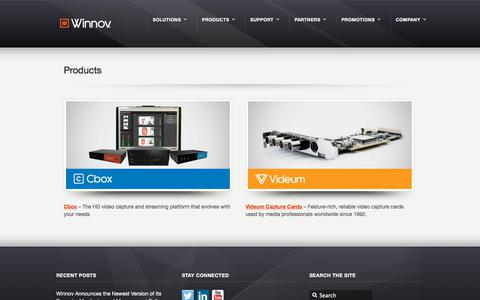 Screenshot of Products Page winnov.com - Products » - captured Sept. 20, 2018