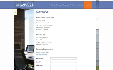 Screenshot of Contact Page iceutica.com - Contact Us | iCeutica - captured Sept. 11, 2014