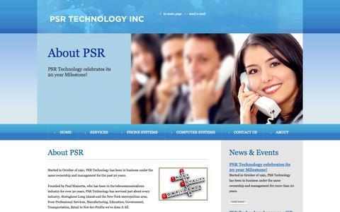 Screenshot of About Page psrtechnology.com - PSR Technology becomes Cisco Select Certified Partner - captured Sept. 26, 2014