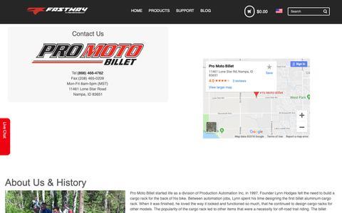 Screenshot of About Page promotobillet.com - Pro Moto Billet - captured Nov. 12, 2018