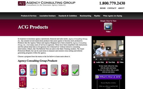 Screenshot of Products Page agencyconsulting.com - Agency Consulting Group Products - captured June 19, 2016