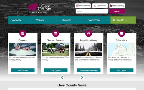 Screenshot of Home Page grey.ca - County of Grey - Colour It Your Way | - captured Nov. 12, 2016
