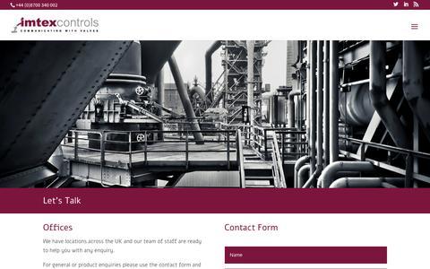Screenshot of Contact Page imtex-controls.com - Contact Us - Imtex - Imtex Controls - captured Oct. 2, 2018