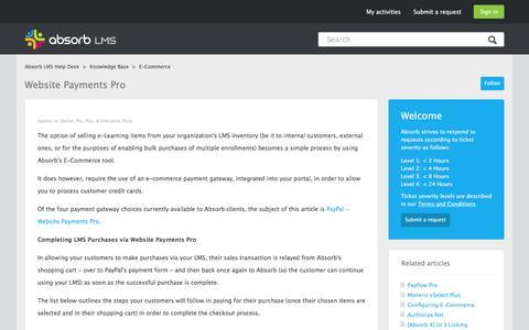Screenshot of Support Page absorblms.com - Website Payments Pro – Absorb LMS Help Desk - captured Jan. 13, 2017