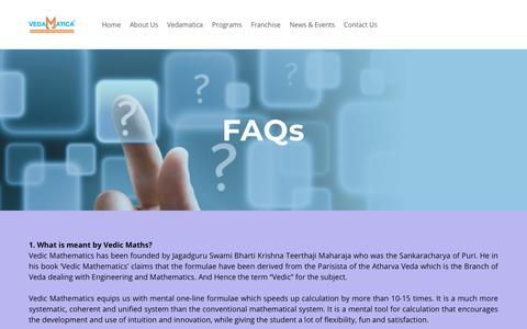 Screenshot of FAQ Page vedamatica.com - FAQs - LEARN VEDIC MATHS - VEDAMATICA - captured Nov. 21, 2018