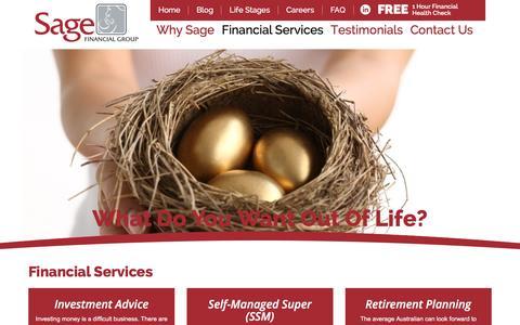 Screenshot of Services Page sagefinancialgroup.com.au - Financial Services | Sage Financial Group - captured Nov. 17, 2016