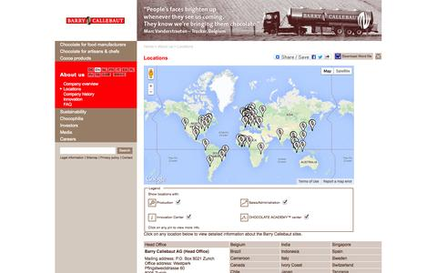 Screenshot of Locations Page barry-callebaut.com - Barry Callebaut - Locations - captured Sept. 22, 2014
