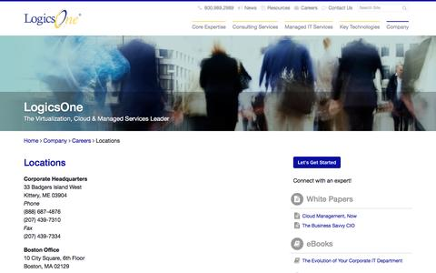Screenshot of Locations Page logicsone.com - The Virtualization, Cloud & Managed Services Leader - LogicsOne - captured July 16, 2016