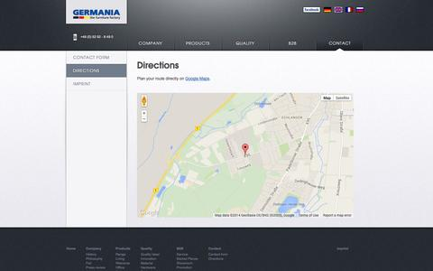 Screenshot of Maps & Directions Page mygermania.com - Directions - mygermania.com EN - captured Oct. 1, 2014