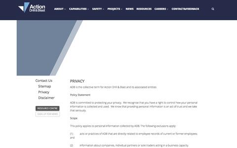 Screenshot of Privacy Page actiondb.com.au - Privacy - Action Drill and Blast - captured Nov. 20, 2016