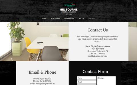 Screenshot of Contact Page jobsright.com.au - CONTACT - captured Nov. 27, 2016