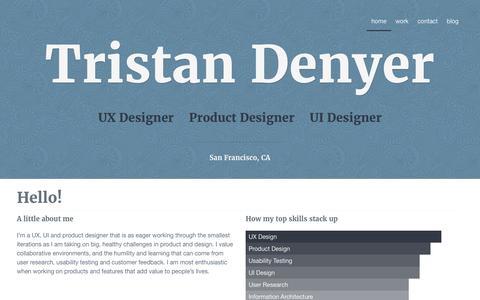 Screenshot of Home Page tristandenyer.com - Tristan Denyer - UI/UX Designer in San Francisco - captured July 8, 2016
