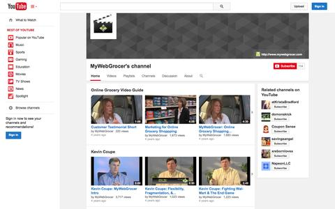 Screenshot of YouTube Page youtube.com - MyWebGrocer's channel  - YouTube - captured Oct. 22, 2014