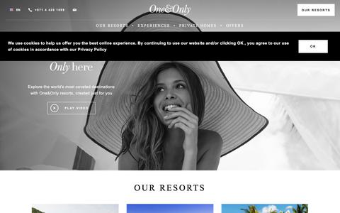 Screenshot of Home Page oneandonlyresorts.com - Award Winning Luxury Hotels & 5 Star Resorts | One&Only - captured Feb. 17, 2020
