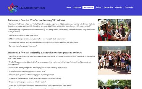 Screenshot of Testimonials Page globalstudytours.com - Testimonials | L&Z Global Study Tours - captured Oct. 1, 2014