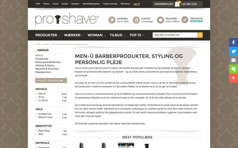 Screenshot of Menu Page proshave.dk - men-ü - Super lækre produkter til grooming og styling - captured July 16, 2016