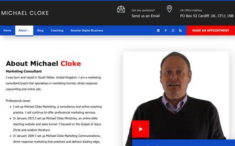 Screenshot of About Page michaelcloke.com - About | Michael Cloke - captured Jan. 7, 2020
