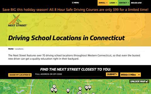 Screenshot of Locations Page thenextstreet.com - Best Driving Schools in CT | The Next Street Driving School - captured Dec. 5, 2018