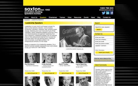 Screenshot of Team Page saxton.com.au - Leadership Speakers | Saxton Speakers Bureau - captured Jan. 15, 2016
